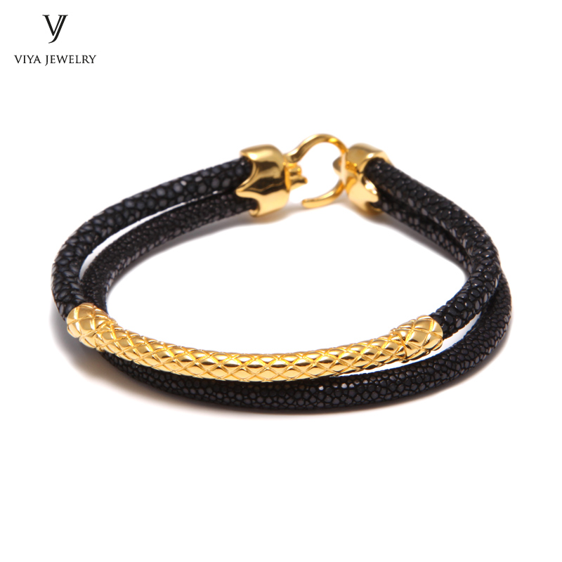 Handcrafted Luxury Custom Stingray Silver Bracelets Two hand-wrapped Stingray leather cords Men Bracelet With Pure Silver Clasp-VSST-03 (4)