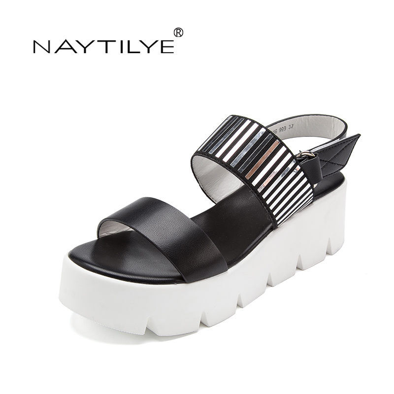 Wedges sandals women Pu Leather Summer 2017 High quality shoes woman 36-41 size Free shipping NAYTILYE<br>