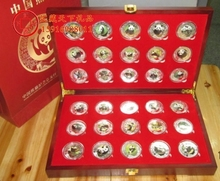 30th anniversary of the issue of Chinese Panda ,corlorful plated silver panda  coins(30pcs) with no certification  free shipping