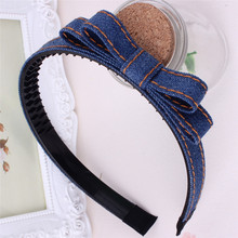 Baby girl's Classic Plaid headdress cute denim bow headwear hair accessories for children make kids fashion lovely(China)