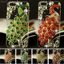 Hot New Luxury 3D Peacock Bird bling Crystal Rhinestone diamond Mobile phone case hard skin back cover For iphone6 6plus 7 7plus