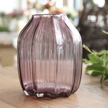 American country Home Furnishing Decor flower table ornaments striped purple transparent glass vase flower Hydroponics