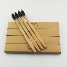 12 Pieces Black 100% Bamboo Toothbrush Wood toothbrush Novelty Bamboo soft-bristle Capitellum Bamboo Fibre Wooden Handle
