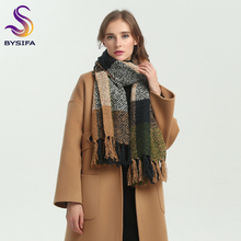 [BYSIFA] Winter Green Khaki Woolen Scarves Women Men Thicken Stylish Simplicity Brand Long Warm Large Plaid Scarves Knitted(China)