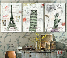 3 Piece Home Decor Wall Art Canvas Painting Europe Classic Building City Paris Ital New York Art Pictures Printed Decal No Frame(China)