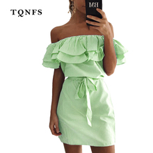 Buy TQNFS Ruffles Slash Neck Women Dress Summer Style Shoulder Sexy Dresses Vestidos Sashes Beach Dress for $12.16 in AliExpress store