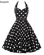 Hepburn Style 50s 60s Vintage Dress Summer Style Big Size Women Casual Party Robe Rockabilly Dot Vestidos Big Swing Retro Dress(China)