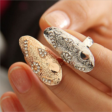 2015 New Hot !! Europe and America Fashion Fine Jewelry Creative Personality Geometry Rhinestone Fingernail Rings For Women R-60