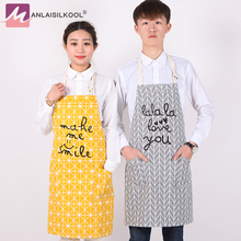Japan Style Cotton Linen Kitchen Apron Printed Unisex Cooking Aprons Avental Dining Room Barbecue Restaurant Pocket Halterneck(China)