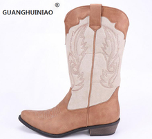 100% new national wind restoring ancient ways is cowboy boots in the neutral point totem female boots boots for women's shoes