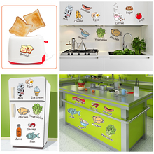 [SHIJUEHEZI] Food Vegetable Kitchen Sticker Vinyl Material Cute Decals for Dining Room Cupboard Fridge Glass Window Decoration(China)