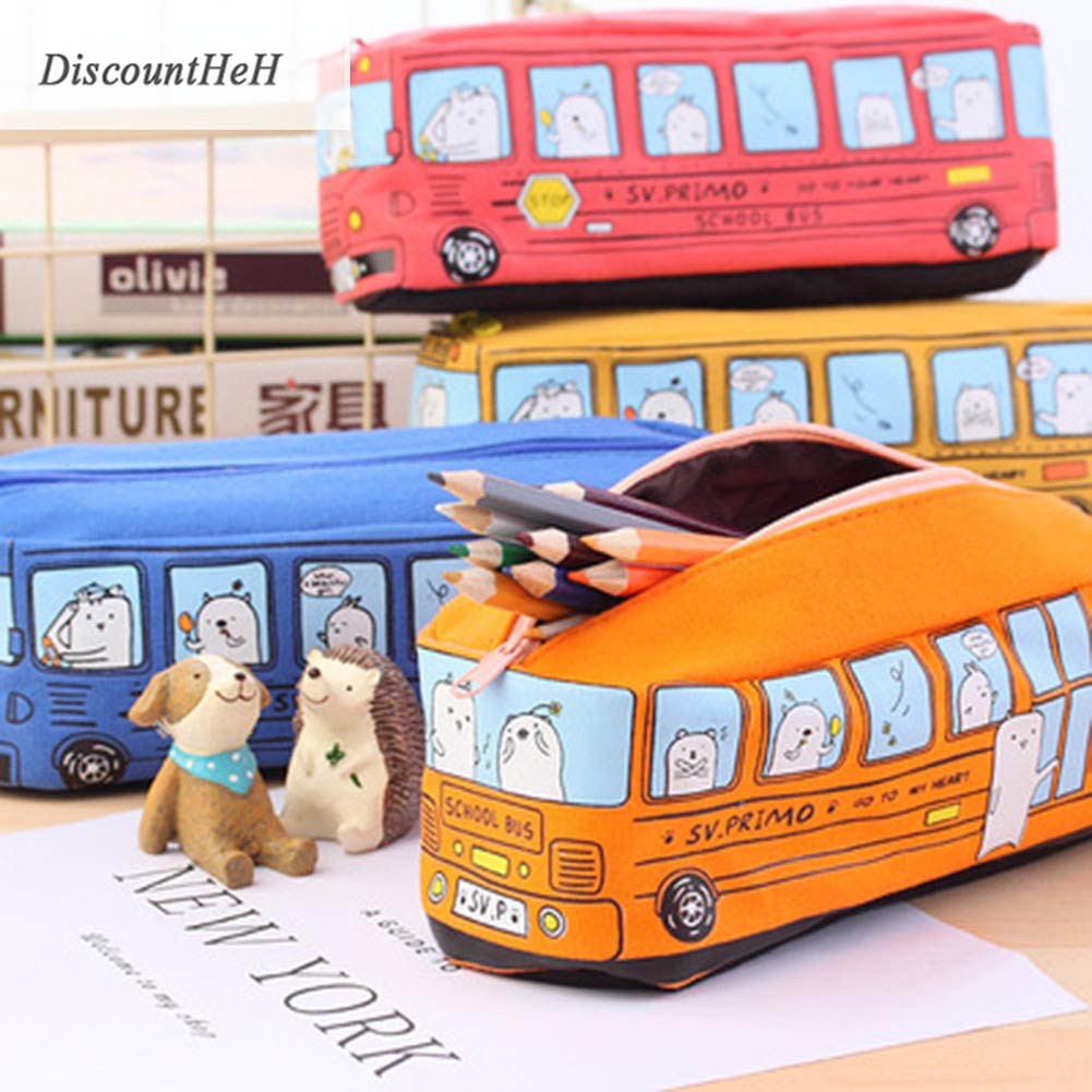 Kawaii School Bus Pencil Case Large Capacity Canvas Car Pencil Bag School Stationery Papalaria Student Gifts