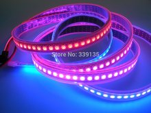 ws2812b ws2811 led digital strip light;144leds/m with 144pcs WS2811 IC built-in,2M/roll,DC5V,Black PCB,Waterproof silicon tube(China)