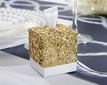 "New Wedding Party Favors And Gifts Candy Box ""All That Glitters"" Gold Glitter Favor Box For Guest 12pcs"