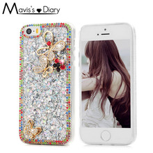 Rhinestone Case Cover for iPhone 5 5s SE 8 7 6 6S Plus Luxury 3D Glitter Bling Crystal Diamond Soft TPU Protective Shell Cover(China)