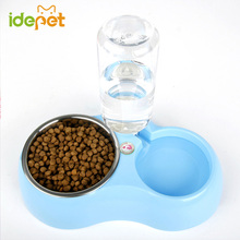 Multifunction Dog Bowl Pet Feeder Food Bowls With Water Bottle Dish Automatic Dog Nipple Pet Cat Bowls For Dogs Products 25S1(China)