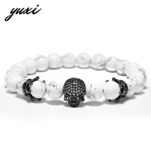 YUXI Punk Double Crown Rhinestone Skull Natural Stone Wrap Bracelets For Men Beads Chain Skeleton Charm Bracelets Male Jewelry(China)