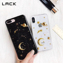 LACK Space Saturn Moon Phone Cases For iPhone 7 6 6s 8 Plus X Case Gold Airship Stars Bling Glitter Universe Series Cover Coque(China)