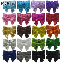 MyAmy Free Shipping 100pcs 1.8'' sequin bow applique embroideried boutique hair Bows for baby girl kids children teens toddlers(China)