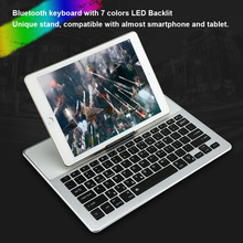 Ultra-slim Creative Wireless Bluetooth 3.0 Keyboard with Colorful LED Backlit Backlight Touchpad Holder for IOS Android Tablet(China)