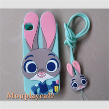 Cute cartoon Zootopia Judy Bunny soft silicone back cover cases for Apple iphone 4 4s & 5 5s & SE 5SE Cell phone cases + Strap