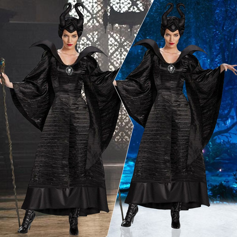 MALEFICENT COSTUME LADIES SLEEPING BEAUTY WITCH FANCY DRESS OUTFIT HALLOWEEN NEW