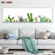 Exclusive Original Nordic Watercolor Cactus Succulents Plants, Canvas Print Art Home Decor Painting For Living Room Wall Decor(China)
