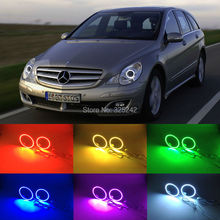 For Mercedes Benz R320 R350 R500 R63 06 07 08 09 10 headlight Excellent Multi-Color Ultra bright 7 Colors RGB LED Angel Eyes kit