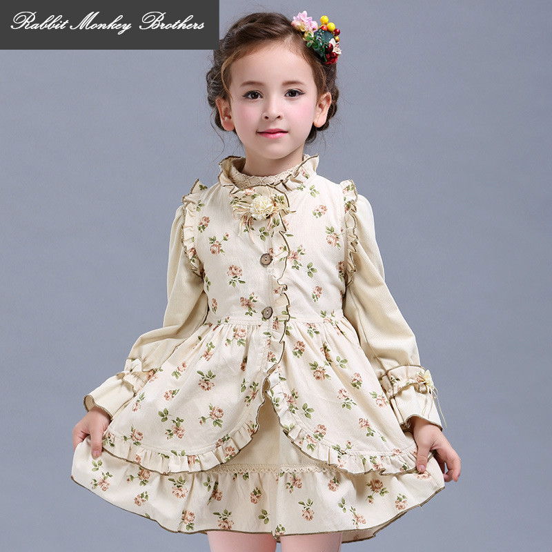 Girls Dresses Set kidswear spring and fall Cotton Vest long sleeve princess dress Vest dress + long-sleeved dress two piece sets<br>