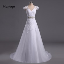 Menoqo New Fashionable Elegant Long A Line Wedding Dress 2017 Appliques Vintage Bride dresses Robe De Mariage