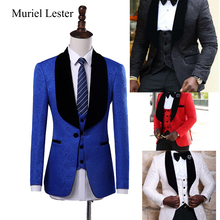 Muriel Lester Latest Coat Pant Designs Shawl Lapel Groom Tuxedos Red/White/Black/Royal Blue Men Suits Wedding Best Man Blazer(China)
