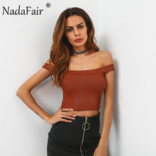 Nadafair Off Shoulder Slash Neck Bling Skinny Stretchy Sexy Crop Tops Backless Tank Tops White Brown