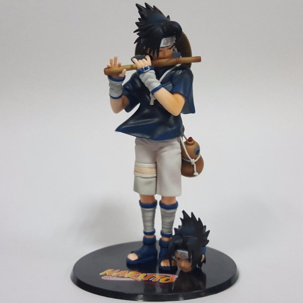 Naruto Sasuke 260mm PVC Action Figures Anime Naruto Shippuden Uchiha Sasuke Play Flute Collectible Model Toy<br>
