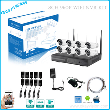8ch HD P2P Wireless NVR kits  Plug And Play CCTV System Wireless NVR Surveillance Kit 960P HD Outdoor Security WIFI IP Camera