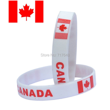 100pcs flag Canada white wristband silicone bracelets free shipping by FEDEX(China)