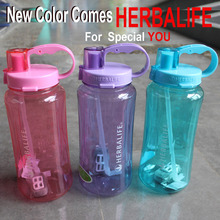 5 Color 1000/2000ml handgrip straw type sports food grade plastic adults water bottle Herbalife shake bottle(China)