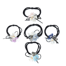 Fashion Women Girls Hair Band Jewelry Accessories Elastic Rubber Bands Headdress Crystal Beads Lace Flowers Decorations Headband