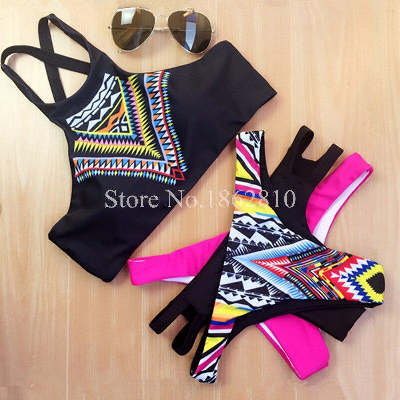 2016 New Women Bikinis High Neck Push up Bikini Set Geometry Black Swimwear Female Slim Print Swimsuit Biquini brazilian Beach<br><br>Aliexpress