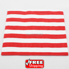 60pcs Red Stripe Colored Paper Napkins,Vintage New Year Christmas Serviettes Towel Party Supplies,Tableware-Choose Your Colors(China)