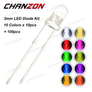 CHANZON 100pcs (10 colors x 10pcs) 3mm LED Diode Kit 3 mm Light Emitting Warm White Green Red Blue Yellow Orange Purple UV Pink