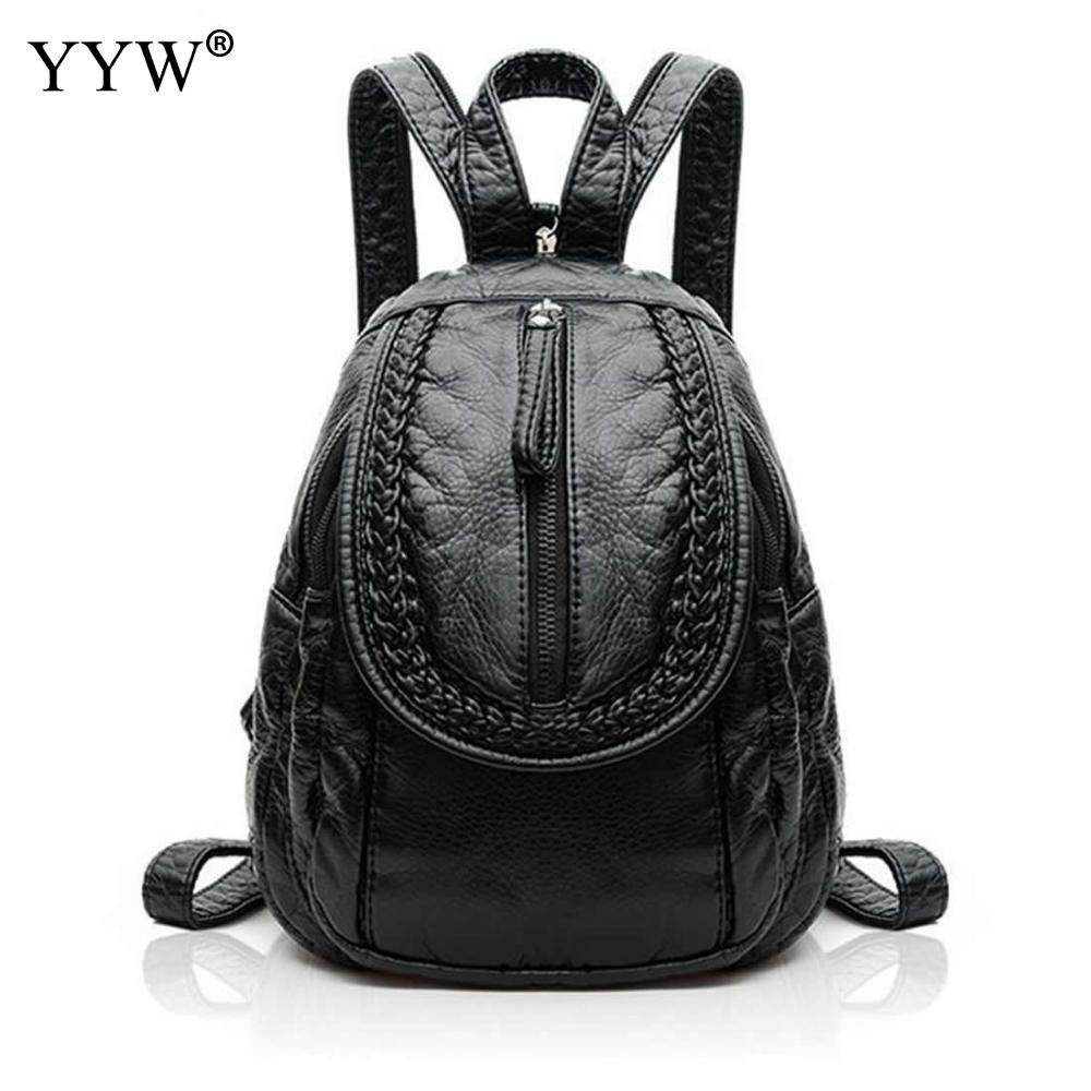 Casual Women Backpacks Waterproof Leather Solid Color Female School bags for college<br>