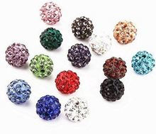 Wholesale 6mm 8mm 10mm 12mm 14mm 100 pcs/lot mixed random Loose XG23WWCrystal Shamballa Bead Bracelet necklace Rhinestone ball
