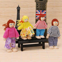 Children Baby Wooden Puppet Doll Toys Lovely Family Playing Educational Toy  4Pcs