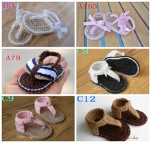 Comfortable Breathable Summer Hand Knitted Yarn Cotton Mixed Colors Buckle Female Infant Sandals Baby boy Flip Flops 30Pair/lot