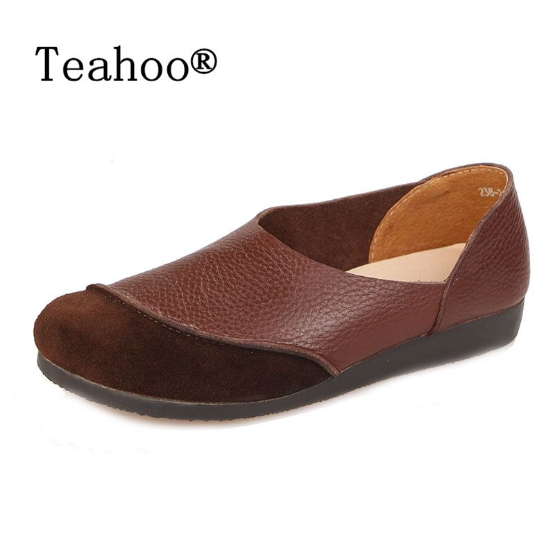 2017 Genuine Leather Women Flats Shoes Fashion Casual Slip On Soft Loafers Spring Moccasins Female Driving Shoes Handmade Plus <br>