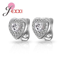JEXXI Top Quality Silver Earrings Lovely Heart Design Stud Earring Fashion Jewelry With Full Shiny CZ Crystal  Wholesale Price