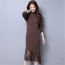 2017 New Women Autumn Winter Knitted Dresses Long Sleeve Sexy Lace Sweater Dress Casual Bodycon Dress Vestidos Female C21