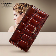 2017 New Ladies High Quality Genuine Leather Crocodile Long Wallet Women Luxury Brand Dollar Price Carteira Feminina