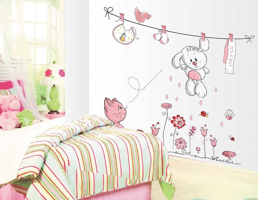 HTB1iVIym3vD8KJjy0Flq6ygBFXaG - Pink Cartoon Cat Rabbit Flower Wall Sticker For Baby Girls Kids Rooms