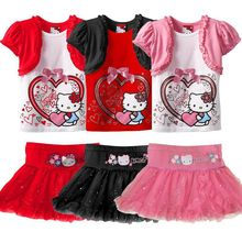 New Fashion Girls Clothes 2016 Fashion Summer Style Boy Clothing Sets Hello Kitty Short Sleeve+Shorts 2Pcs for Kids Clothes 3-7Y